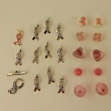 22 Assorted Breast Cancer Awareness Charms, toggle & pink beads  jewelry making