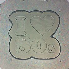 "Flexible Resin Mold ""I Heart / Love The 80's"" Retro Word Nameplate"
