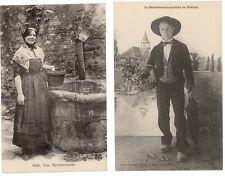 2 CPA BOURBONNAIS - COSTUMES - FOLKORE VERS 1910