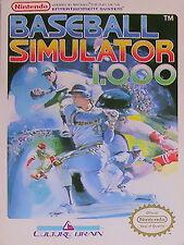 Baseball Simulator 1.000(Nintendo Ent. System,1989) Game/Man. With Free Ship