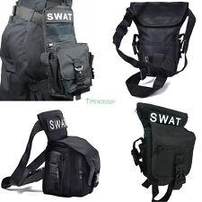 Black Cross Over Police SWAT Drop Leg Utility Waist Pouch Carrier Belt Bag Pack
