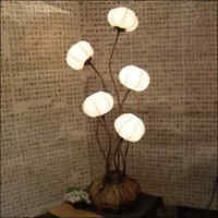 Paper Ball Art Deco White Shade Lantern Asian Table Floor Brown Touch Lamp Light