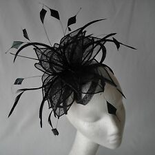 Black Sinamay and  Feather Fascinator for Weddings, Races and Proms