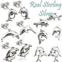 Dolphin Earrings Whale Ear Stud✅Real 925 Sterling Silver ✅UK for Girl Boy Surfer