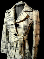 ME JANE Vintage Peacoat Rockabilly Tweed WOOL Jacket Coat Sm Gray Ivory Plaid