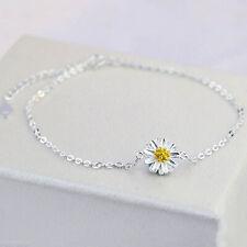 925 Sterling Silver Women Anklet Chain Daisy Flower Ankle Bracelet Plant Jewelry