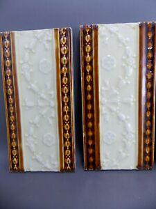 Antique four Art Nouveau Majolica Tile  19th embossed England