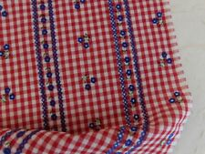 """Vintage Flocked Lawn Gingham Fabric 1/8"""" Red Check Blue Floral SCRAP 30L 7""""W"""