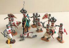 TIMPO 1/32 Lot Croisés Chevaliers Série Moyen Age 12 figurines Années 70/80ies