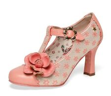 Joe Browns NEW Cecelia peach coral floral high heel T-bar shoes sizes 3-8 UK