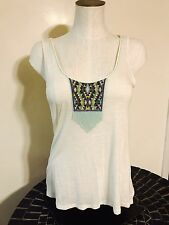 AMERICAN EAGLE OUTFITTERS Cream Color Beaded Twist Back Sleeveless Top Small