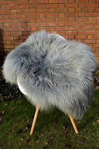 Sheepskin Rug Icelandic Genuine Silver Grey Very Soft and Long haired Large