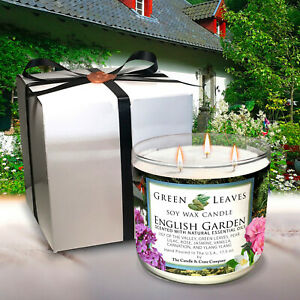 Handmade English Garden, All Natural Soy Candle in 17.5oz 3 Wick, Free Shipping!