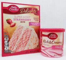 Betty Crocker Super Moist STRAWBERRY Cake Mix & CHERRY Rich Creamy Frosting Set