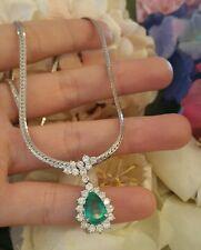 Pear shape Emerald & Round Diamond Pendant Necklace in Platinum - HM1632