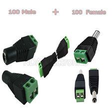 100 Set Male Female 2.1x5.5mm DC 12V Power Jack Plug Adapter Connector CCTV