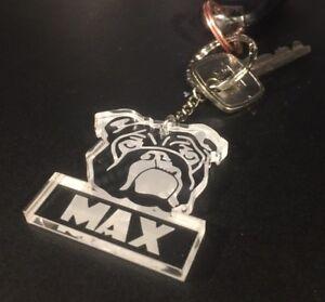 Personalised Bulldog Dog pet keyring gift Lab Birthday American English French