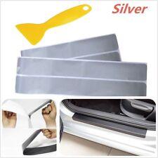 4PCS Accessories 3D Carbon Fiber Silver Car door Plate Door Sill Scuff Plate