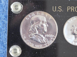 1960 Small Date US Silver Proof Set in Black Capital Lucite E0808