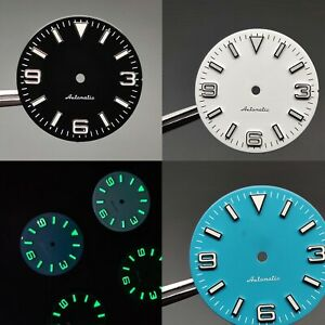 Mechanical Watch Dial 28.5mm c3 Green Luminous Literal Dial For Nh35 Movement