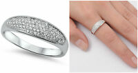 Sterling Silver 925 MICRO PAVE SETTING CLEAR CZ WEDDING BAND RING 6MM SIZE 5-10