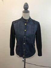 St. John Sport Denim Jean Jacket with Knit Sleeves