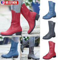Women Leather Mid Calf Boots Low Block Heel Zipper Round Toe Outdoor Shoes Size