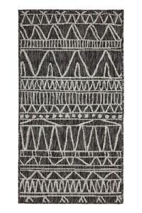 Tribal Pattern Black Outdoor Rug Large Polypropylene Rug Designer Patio Rug