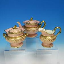 Minton China - Heavy Gold Encrusted - Teapot, Creamer, Sugar - 3 Piece Teaset