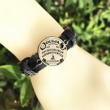 Ouija Board Black Glass leather & chord Bracelet charm -unisex adjustabl-SL804