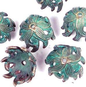 8 Antique Bronze Pewter Green Patina Petal Flowers Caps Beads 15mm