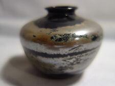 alte kleine  Glas  Vase  Lauscha Thüringen , silber / schwarz 6 x 8 cm