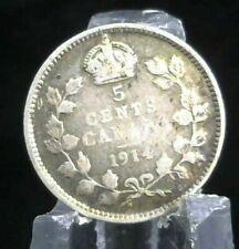 1914 CANADA SILVER 5 CENTS COIN
