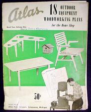 Vintage ATLAS Modern OUTDOOR FURNITURE PLANS Woodworking WOOD SHOP Book MANUAL
