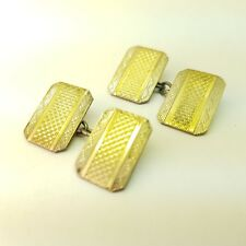 """Vintage Sterling Silver 925 & 9 CT Gold Cuff Links Marked """"9CT&SIL"""""""