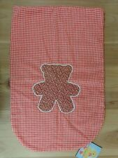 "KITCHEN CHAIR COVER Red Gingham Print Brown Teddy Bear Handmade 26"" x 17"""