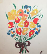 1951 GOUACHE PAINTING EXPRESSIONIST COMPOSITION FLOWERS