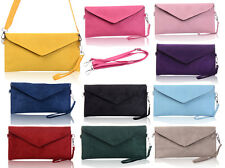 Ladies Handbag Italian Designer Soft Faux Leather Suede Envelope Clutch Bag