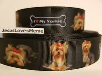 "Grosgrain Yorkie Yorkshire Terrier Printed Dog Ribbon 1/"" 25mm"