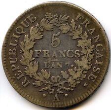 Directoire (1795-1799) 5 Francs Union et Force AN 7 A Paris F.298