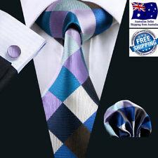 Premium Men Tie Formal Wedding  Blue Brown Beige Check Plaid Silk Hanky Cufflink