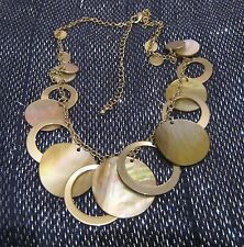 Lovely gold tone metal chain with circular discs in metal and shell 38-46 cm