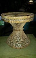 Vintage Bohemian Mid Century Modern Hour Glass Wicker Rattan Table or Stool