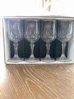 Crystal Wine Glasses Gold Rim, Cristal d'Arques Longchamp, Gold Trim Set Of 4