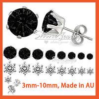 Stainless Steel BLACK Cubic Zirconia CARAT MENS WOMENS SOLID ROUND STUD Earrings