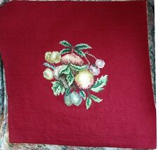 "Finished ~ Hand Worked ~  Burgundy Wool CUSHION PANEL ~ 17½"" x 17½"""