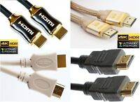 HDMI CABLES BRAIDED BLACK WHITE GOLD High Speed ULTRA FULL HD TV 4K 3D HDR