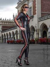 Leder Ledercatsuit Anzug Catsuit Schwarz/Rot Schnürung Maßanfertigung