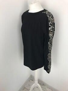 Next Black Embellished Sleeves Sweatshirt Silver Sequin Blouse 12 Loungewear