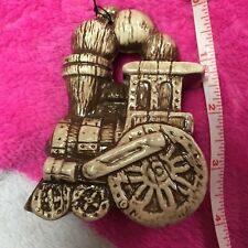 Vintage 1977 Christmas Ornament Ceramic Train 🚂 Brown wooden texture~hand paint